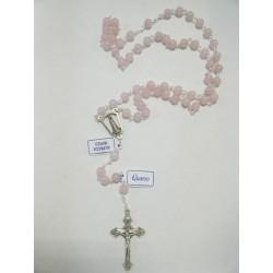 Corona del Rosario in quarzo rosa